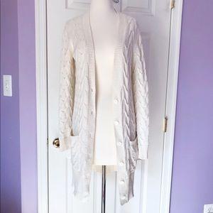 Loft longline cream knit cardigan